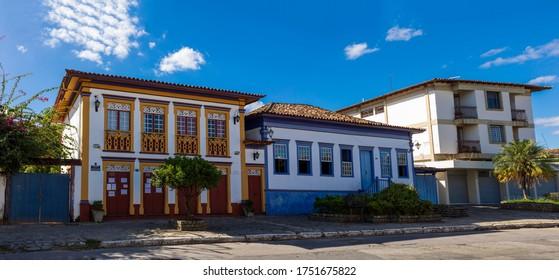 Santa Luzia/Minas Gerais/Brasil - MAI 30 2020: Typical architecture of colonial houses on the right street