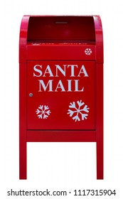 Santa Mail red Christmas holiday mailbox isolated on white background