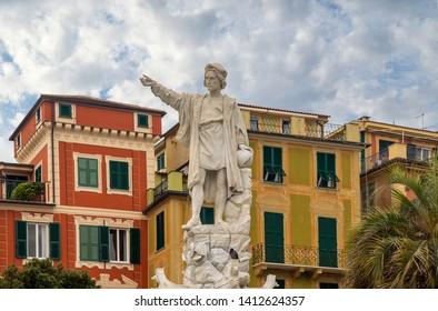 Santa Margherita Ligure, Genova / Italy - April 25 2019: Marble monument of the Italian explorer and navigator Christopher Columbus (1451-1506), created by the sculptor Odoardo Tabacchi in 1892