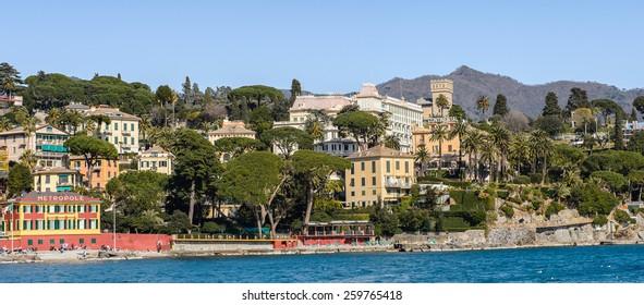 SANTA MARGHERITA LIGURE, ITALY - MAR 8, 2015: Santa Margherita Ligure, which is popular touristic destination in summer