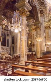 SANTA MARGHERITA LIGURE, ITALY - MAR 8, 2015: Basilica of St. Margaret of Antiochia in Santa Margherita Ligure, built from 1658
