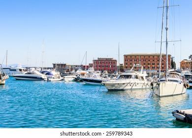 SANTA MARGHERITA LIGURE, ITALY - MAR 8, 2015: Boats near the port of Santa Margherita Ligure, which is popular touristic destination in summer