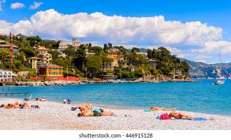 SANTA MARGHERITA LIGURE, ITALY - MAY 4, 2015: Panoramic view of  Santa Margherita Ligure, which is popular touristic destination in summer