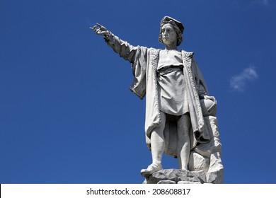 SANTA MARGHERITA TOWN, LIGURIA, ITALY - MAY 04: Monument to Christopher Columbus (by Odoardo Tabacchi, 1892), on May 04, 2014 in Santa Margherita Ligure, Liguria, Italy