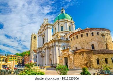 Santa Maria Assunta Cathedral, Duomo Nuovo and Duomo Vecchio La Rotonda, New and Old Cathedral Roman Catholic church, Piazza Paolo VI Square, Brescia city historical centre, Lombardy, Northern Italy