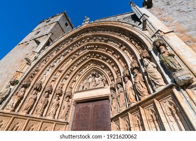 Santa Maria Basilica in Castello d'Empuries village of the Costa Brava or coastline of the Alt Emporda within Emporda region of Girona province of Catalonia in Spain, Europe