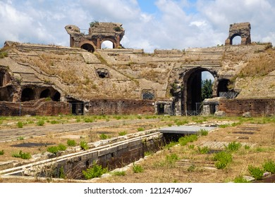 Santa Maria Capua Vetere, Campania / Italy - July 17 2018: The Amphitheatre of Capua in the Italian region of Campania was able to host up to 60.000 spectactors. This is what remains of the stands.