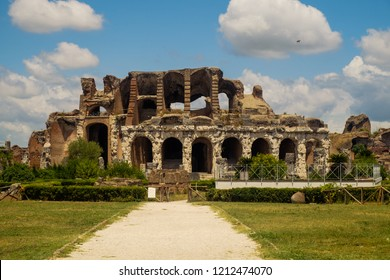 Santa Maria Capua Vetere, Campania / Italy - July 17 2018: The Amphitheatre of Capua in the Italian region of Campania was finished in the 2nd century. After the Colosseum, it was the biggest in size.