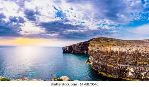 Santa Maria Caves Comino.The Blue Lagoon on Comino Island, Malta Gozo..