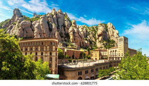 Santa Maria de Montserrat abbey in Monistrol, in a beautiful summer day, Catalonia, Spain