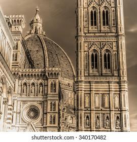 Santa Maria del Fiore cathedral in sepia tone, Italy