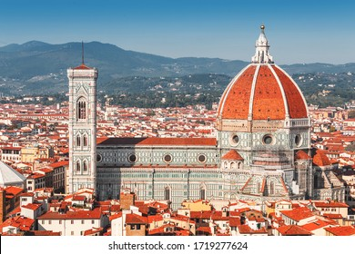 Santa Maria del Fiore is the main attraction and business card of Florence. Aerial view of the Cathedral and city roofs