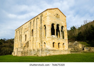 Santa Maria del Naranco in Oviedo, Spain. One of the few remaining pre-romanesque constructions in Europe. Side view and horizontal caption