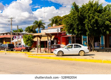 SANTA MARIA DEL TULE, MEXICO - OCT 31, 2016: Architecture of Santa Maria del Tule, Mexico, Valles Centrales region. The name comes from the Nahuatl word 'tulle' which means bulrush