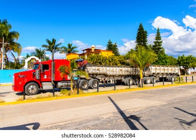 SANTA MARIA DEL TULE, MEXICO - OCT 31, 2016: A truck Santa Maria del Tule, Mexico, Valles Centrales region. The name comes from the Nahuatl word 'tulle' which means bulrush