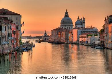 Santa Maria Della Salute, Church of Health in dusk twilight  - sunrise at Grand Canal Grande Venice Italy