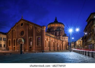 Santa Maria delle Grazie church at evening, Milan, Italy