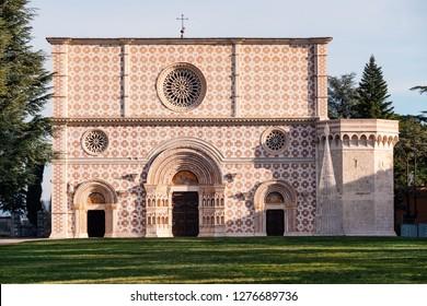 Santa Maria di Collemaggio basilica (XIII century) facade. Aquila, Abruzzo region, Italy.