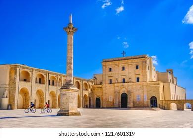 Santa Maria di Leuca Basilica and Colonna Corinzia - Salento - Lecce  - Apulia - Italy .