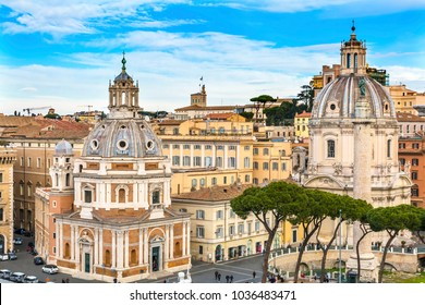 Santa Maria di Loreto Santissimo Nome di Maria Church Most Holy Name Mary Market Rome Italy.  T. Nome di Maria church established in 1688