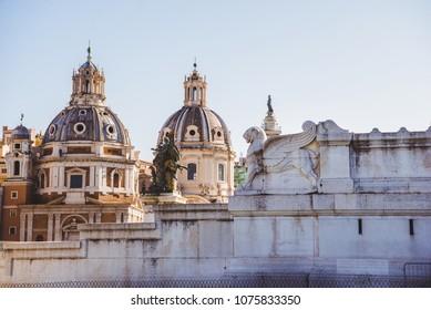 Santa Maria di Loreto (St Maria of Loreto) church and part of Altar of the Fatherland in Rome, Italy