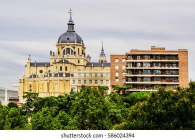 Santa Maria la Real de La Almudena cathedral in Madrid, Spain.