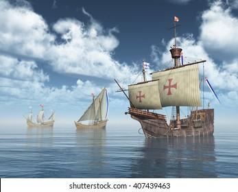 Santa Maria, Nina and Pinta of Christopher Columbus Computer generated 3D illustration