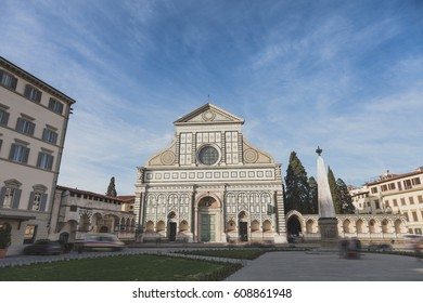 Santa Maria Novella church in Florence, Tuscany, Italy. Long exposure with blurred motion effect.