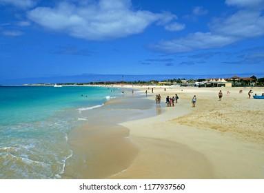 Santa Maria, Sal, Cabo Verde - Cape Verde, África - August 22, 2018. Santa Maria beach in Sal Cape Verde - Cabo Verde