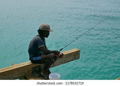 Santa Maria, Sal, Cabo Verde - Cape Verde, África - August 22, 2018. Fisherman in Santa Maria beach, Sal Island, Cape Verde africa