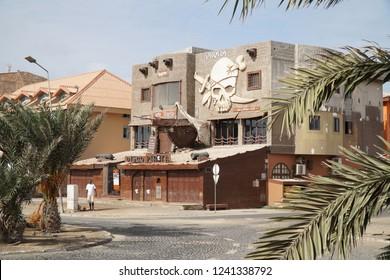 Santa Maria, Sal / Cape Verde - October 21, 2018: The discotheque and nightclub Pirata in Santa Maria on Sal island, Cape Verde.