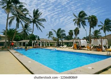 Santa Maria, Sal Island, Cape Verde, África - August 22, 2018: Beautiful pool at Oasis Atlantico Belorizonte resort in Santa Maria, Sal, Cape Verde.