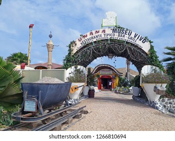 SANTA MARIA, SAL ISLAND, CAPE VERDE - OCTOBER 21, 2018: outside view of the well known Funana club and museum in Santa Maria do Sal, Cape Verde on October 21, 2018.