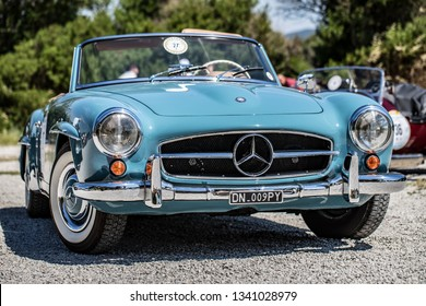 Santa Marinella, Rome, Latium, Italy - 20 06 2018: Mercedes 190 SL front view. Green in the background