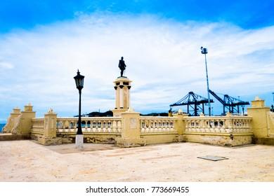 SANTA MARTA, COLOMBIA - OCTOBER 21, 2017: Statue of city founder Rodrigo de Bastidas in Santa Marta, popular caribbean destination in northern Colombia
