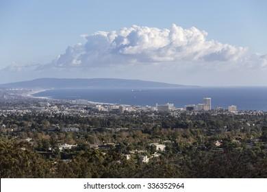 Santa Monica bay mountaintop view in Los Angeles, California.