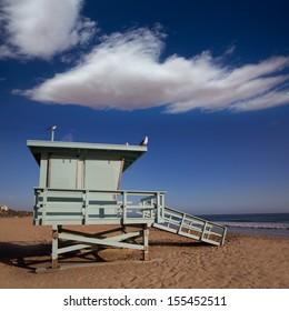 Santa Monica beach lifeguard tower in California USA