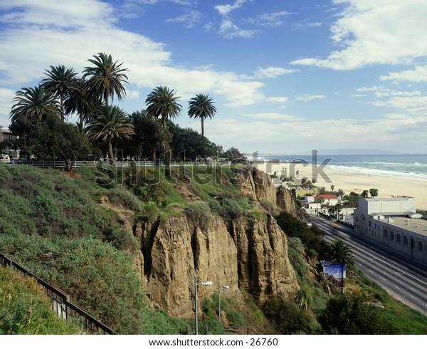 Santa Monica beach looking south to pier