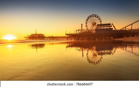 Santa Monica beach and pier in California USA at sunset