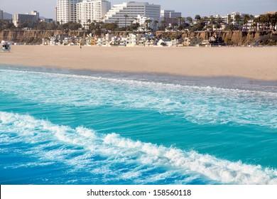Santa Monica beach view from pier in California USA