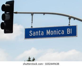 Santa monica bl boulevard street sign