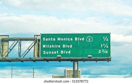 Santa Monica boulevard sign in a Los Angeles freeway, California