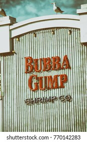 SANTA MONICA, CA - AUGUST 1, 2017: Bubba Gump Shrimp Company restaurant. The Bubba Gump Shrimp Company Restaurant and Market is a seafood restaurant chain inspired by the film Forrest Gump.