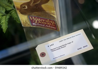 "SANTA MONICA, CA - AUGUST 21:  Sawyer's ""Watership Down"" book on view at the Lost Offiicial Show Auction on August 21, 2010 in Santa Monica.."