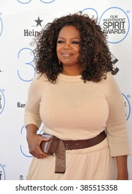 SANTA MONICA, CA - FEBRUARY 21, 2015: Oprah Winfrey at the 30th Annual Film Independent Spirit Awards on the beach in Santa Monica.