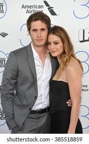SANTA MONICA, CA - FEBRUARY 21, 2015: Blake Jenner & Melissa Benoist at the 30th Annual Film Independent Spirit Awards on the beach in Santa Monica.