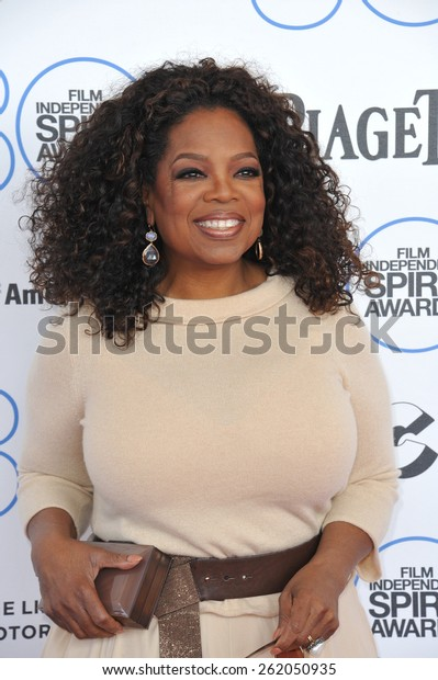 SANTA MONICA, CA - FEBRUARY 21, 2015: Oprah Winfrey at the 30th Annual Film Independent Spirit Awards on the beach in Santa Monica.