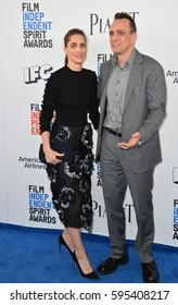 SANTA MONICA, CA. February 25, 2017: Actress Amanda Peet & actor Hank Azaria at the 2017 Film Independent Spirit Awards on the beach in Santa Monica.