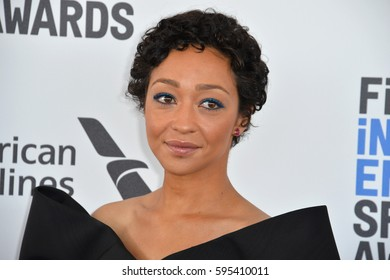 SANTA MONICA, CA. February 25, 2017: Actress Ruth Negga at the 2017 Film Independent Spirit Awards on the beach in Santa Monica.
