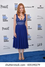 SANTA MONICA, CA - FEBRUARY 27, 2016: Jessica Chastain at the 2016 Film Independent Spirit Awards on the beach in Santa Monica, CA.